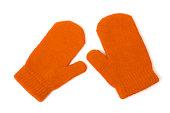 Orange mittens on white