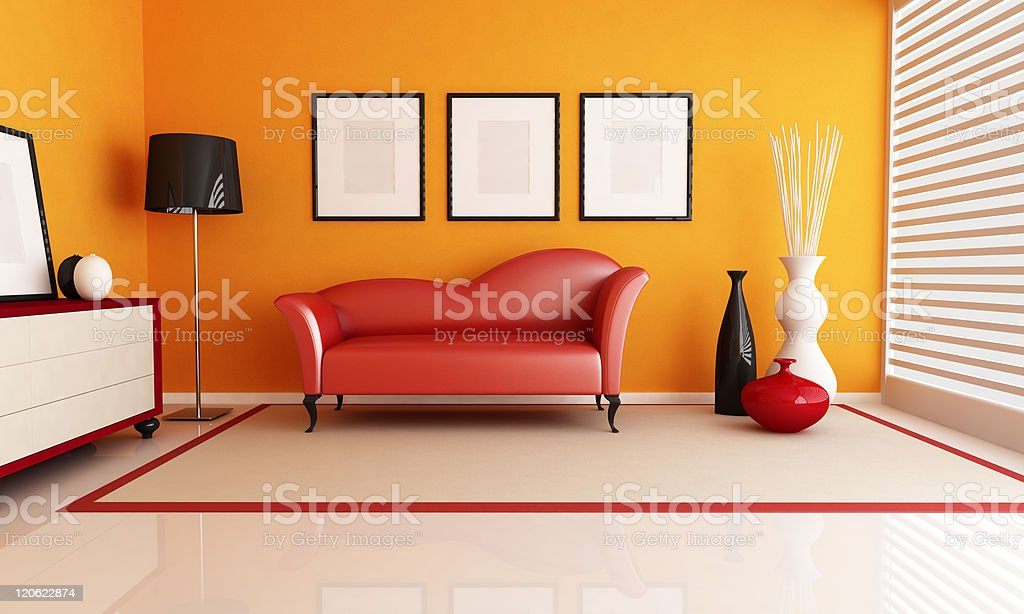 Orange modern living room with a red chaise couch royalty-free stock photo