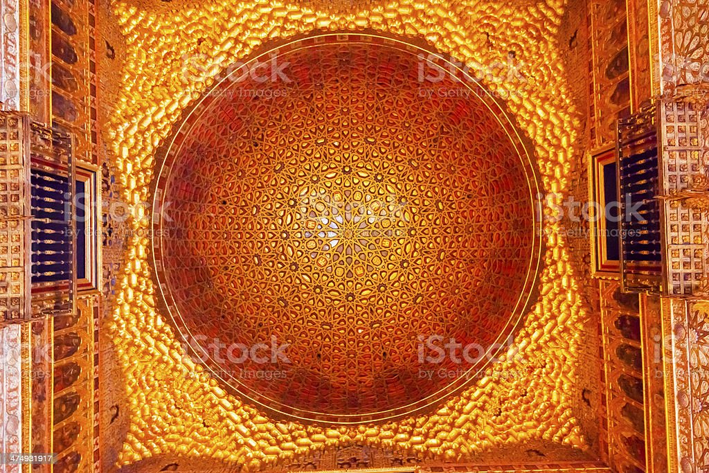 Orange Mosaic Celing Ambassador Room Alcazar Royal Palace Seville Spain royalty-free stock photo