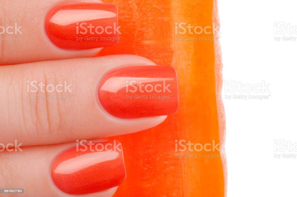 Orange nail polish. stock photo