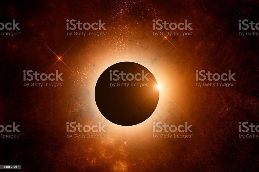 Orange Nebula with stars on background stock photo