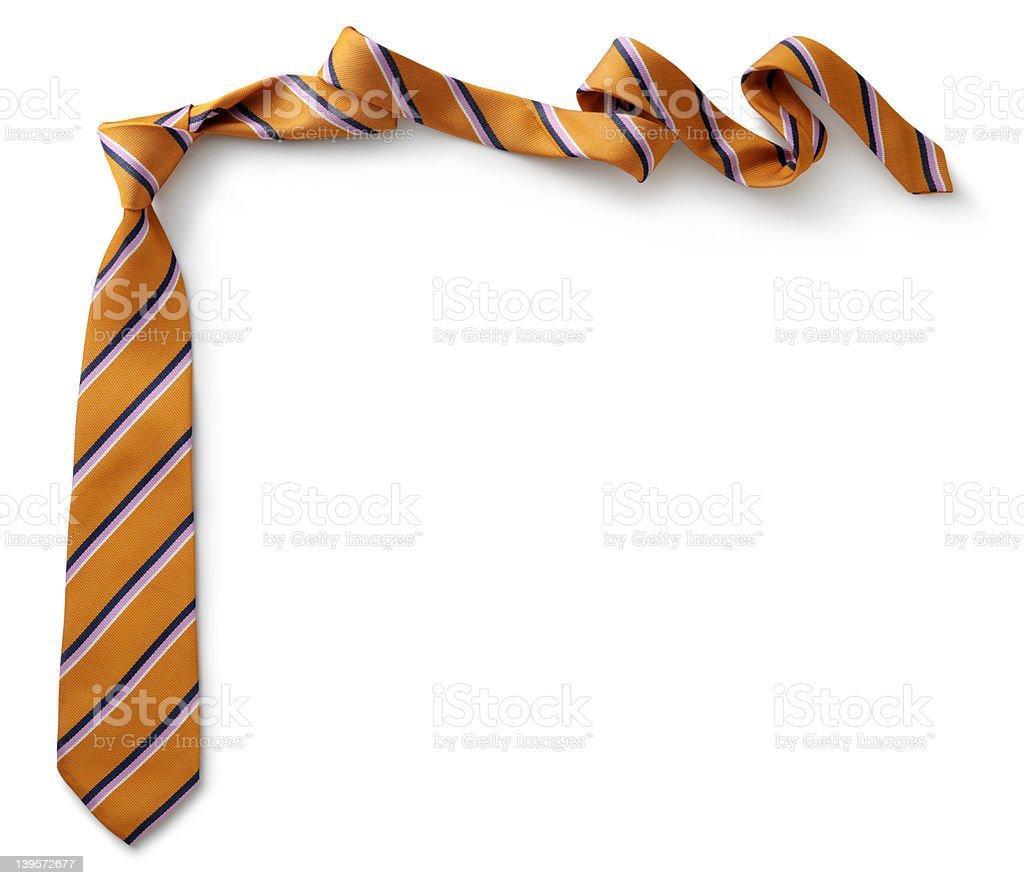 Orange necktie with black, purple and white stripes  stock photo