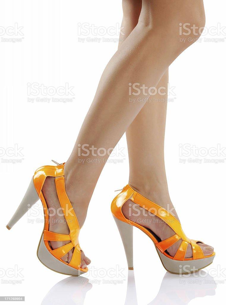 orange neon shoes royalty-free stock photo