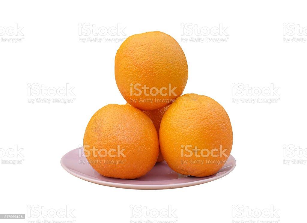 Orange on the plate stock photo