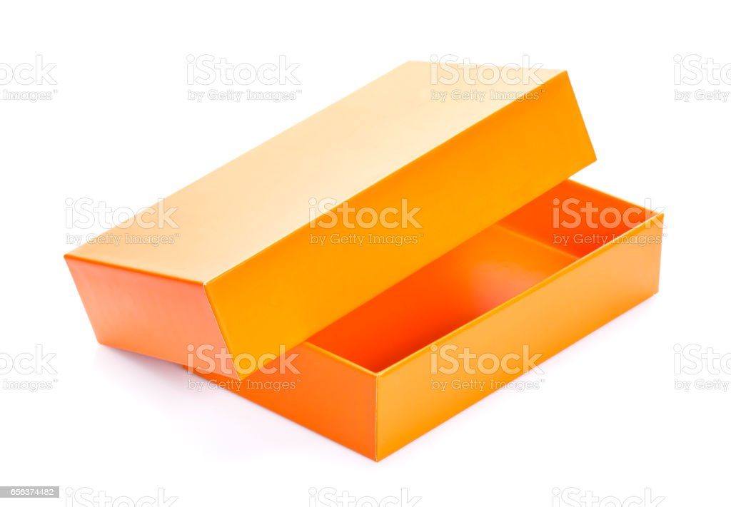 Orange open cardboard box mock up isolated on white background, template for design stock photo