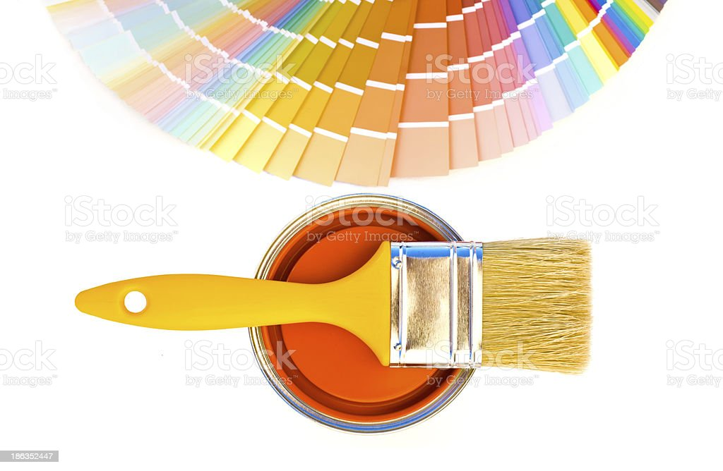 Orange paint and swatch. royalty-free stock photo