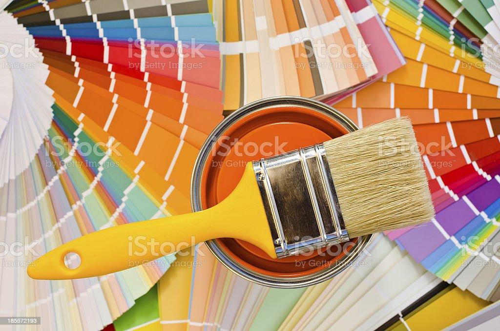 Orange paint sample. stock photo