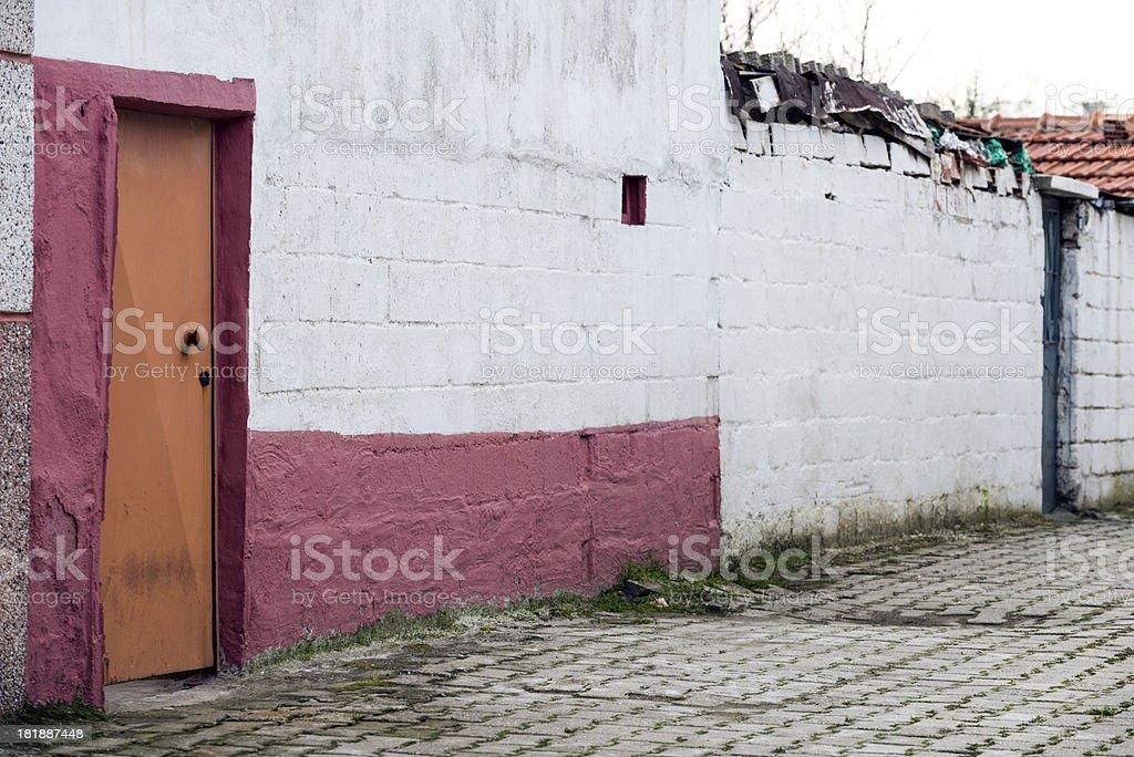 Orange Painted Door royalty-free stock photo
