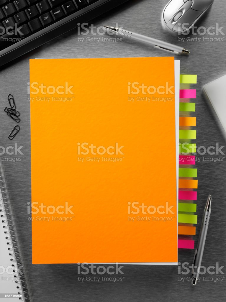 Orange Paper in the Office royalty-free stock photo