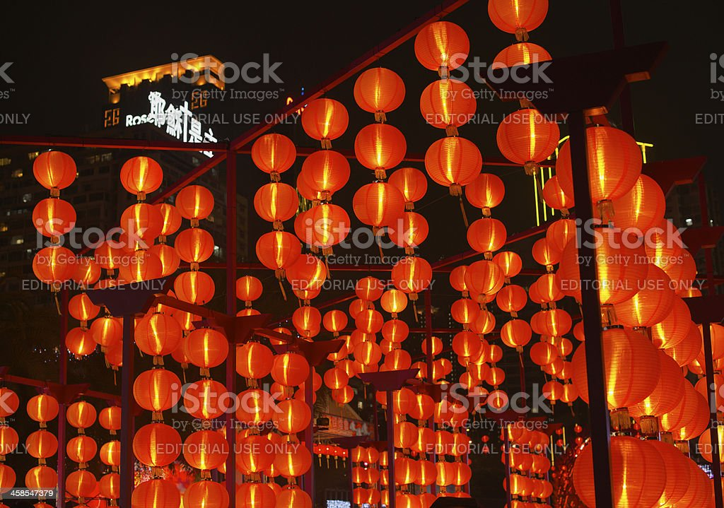 Orange paper lamps in Mid-Autumn Festival in Hong Kong stock photo