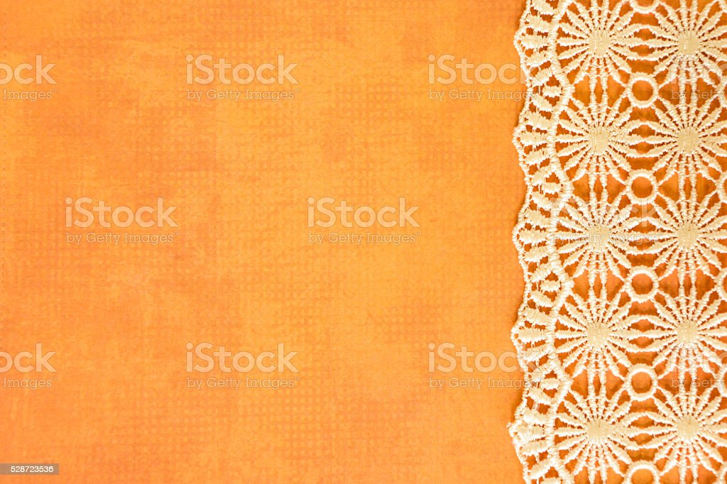 Orange Paper with Lace stock photo