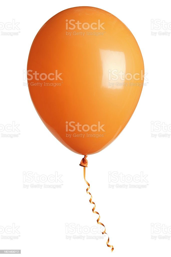 orange party balloon isolated on white royalty-free stock photo