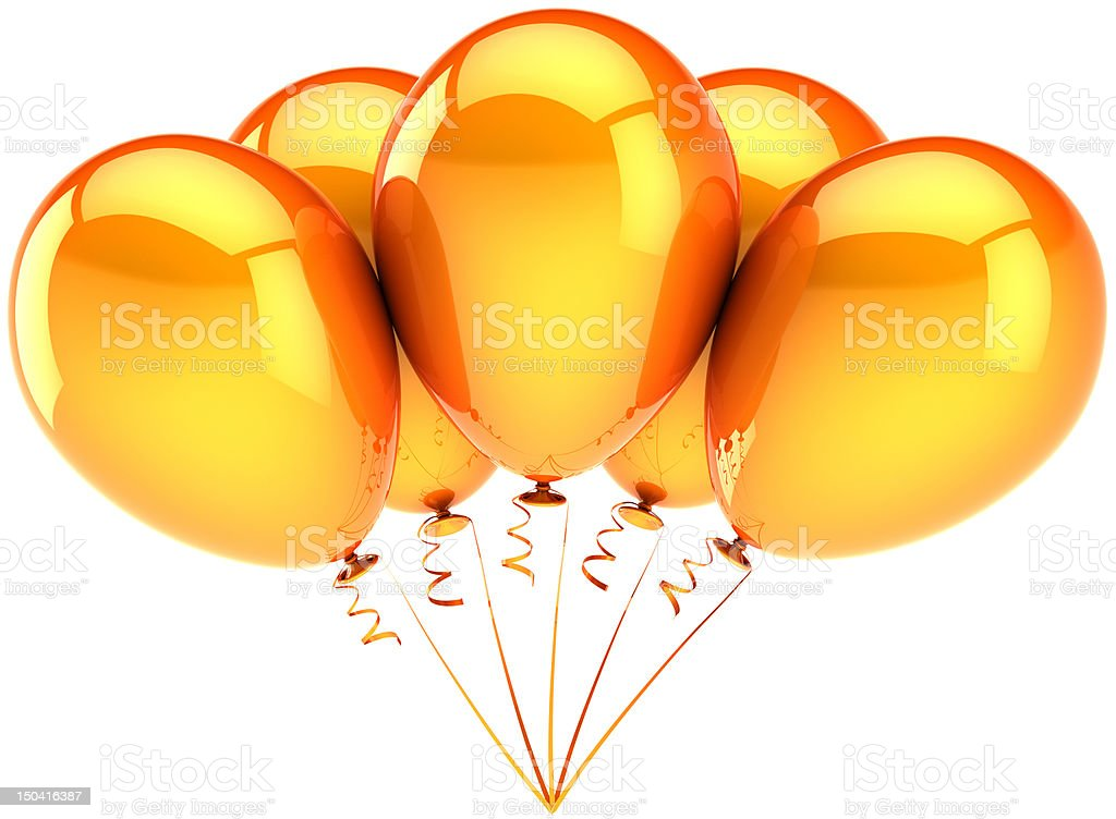Orange party balloons Happy birthday decoration classic stock photo
