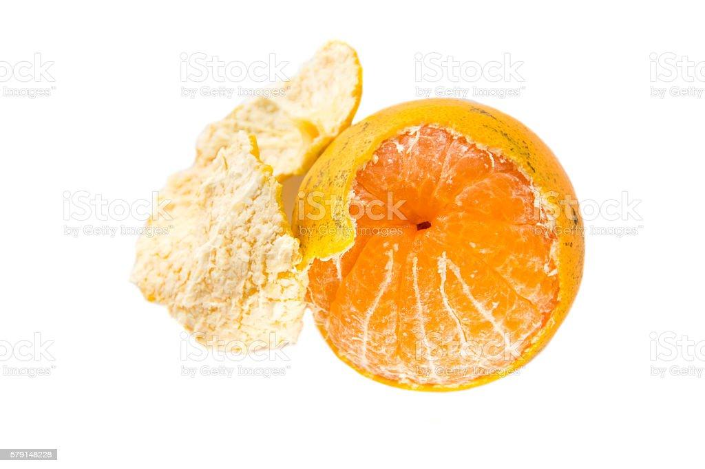 orange peel on white Background stock photo