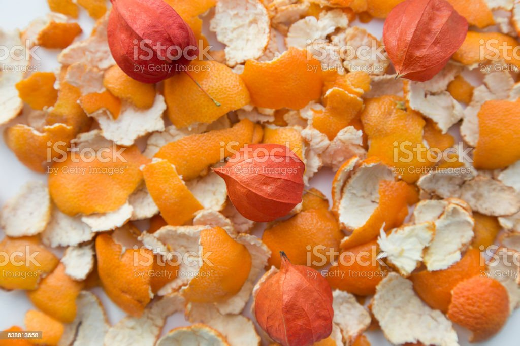 Orange peel with physalis. background stock photo