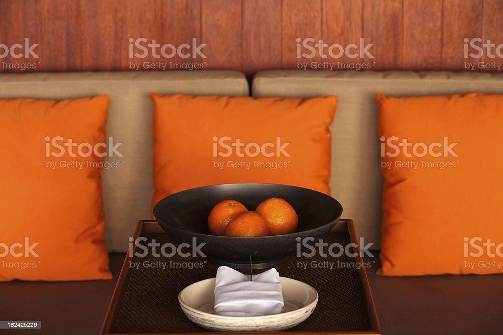 orange pillows hotel room royalty-free stock photo