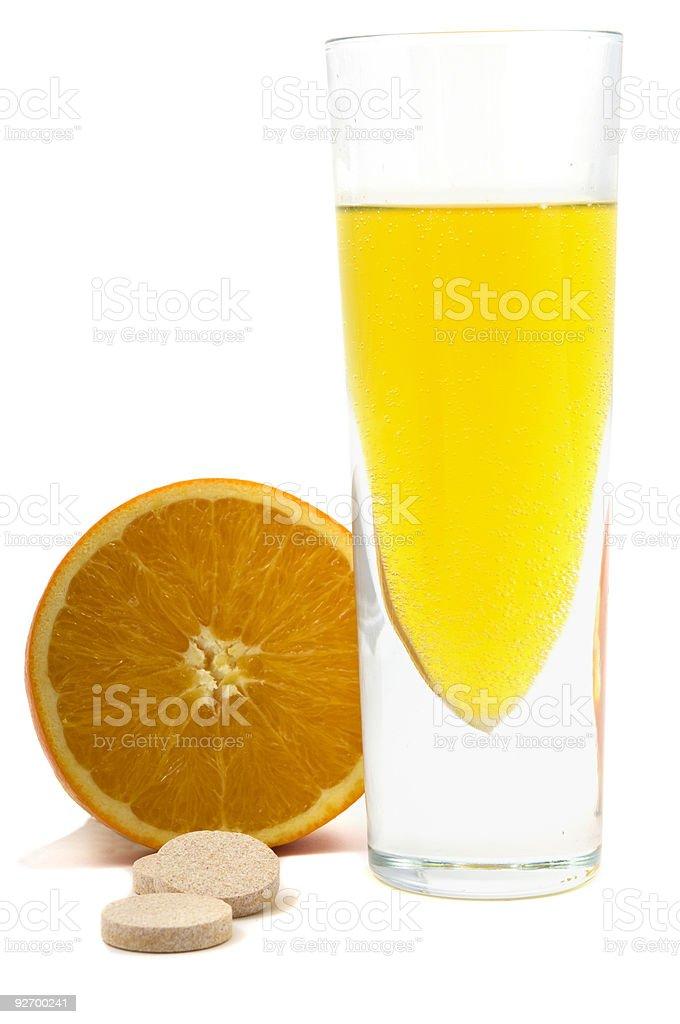 Orange, Pills and Health Drink (vitamin C) royalty-free stock photo