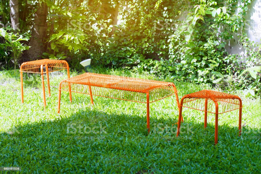 Orange pinic table in the park stock photo