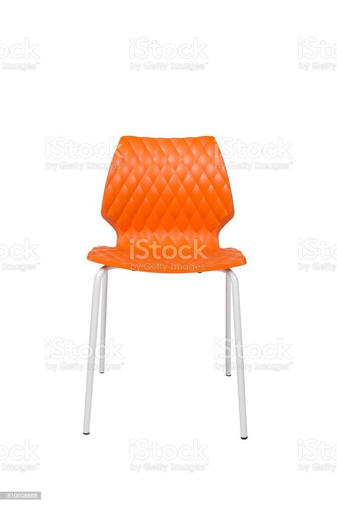 Orange Plastic Chair With White Leg stock photo