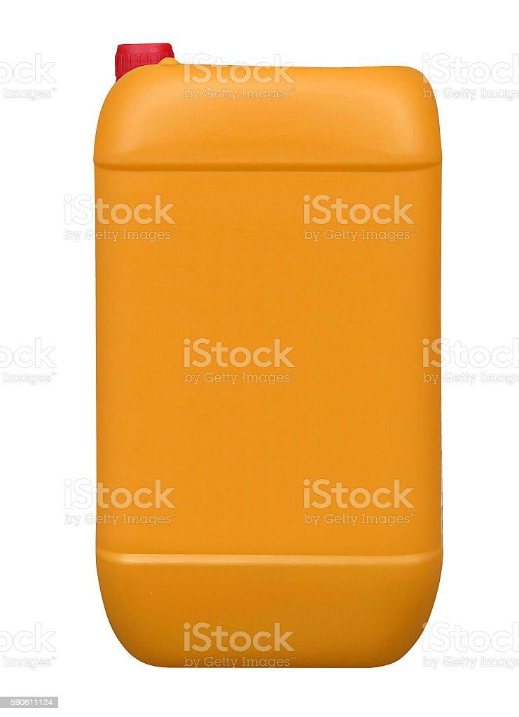 Orange plastic gallon, jerry can isolated stock photo