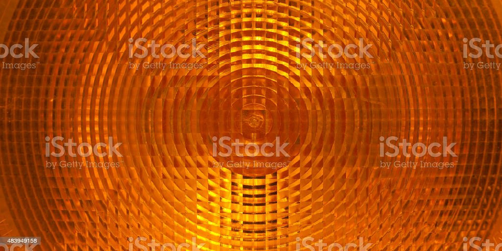 Orange plastic surface of warning light stock photo