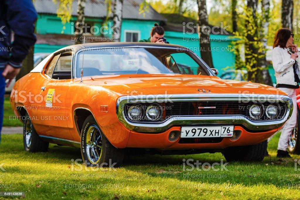 Orange Plymouth Satellite stock photo