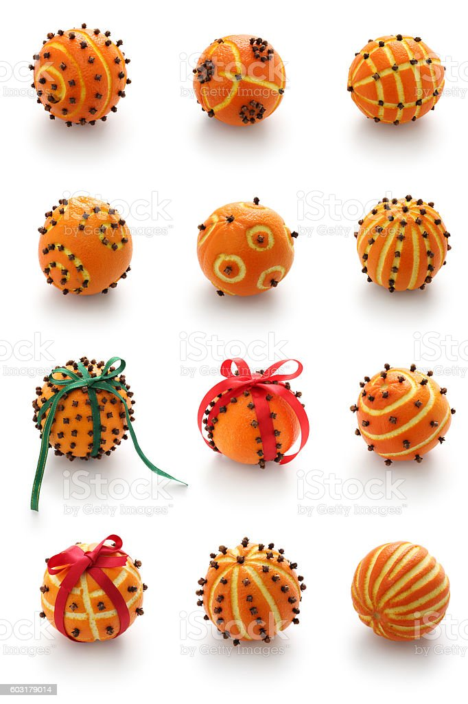 orange pomander balls stock photo