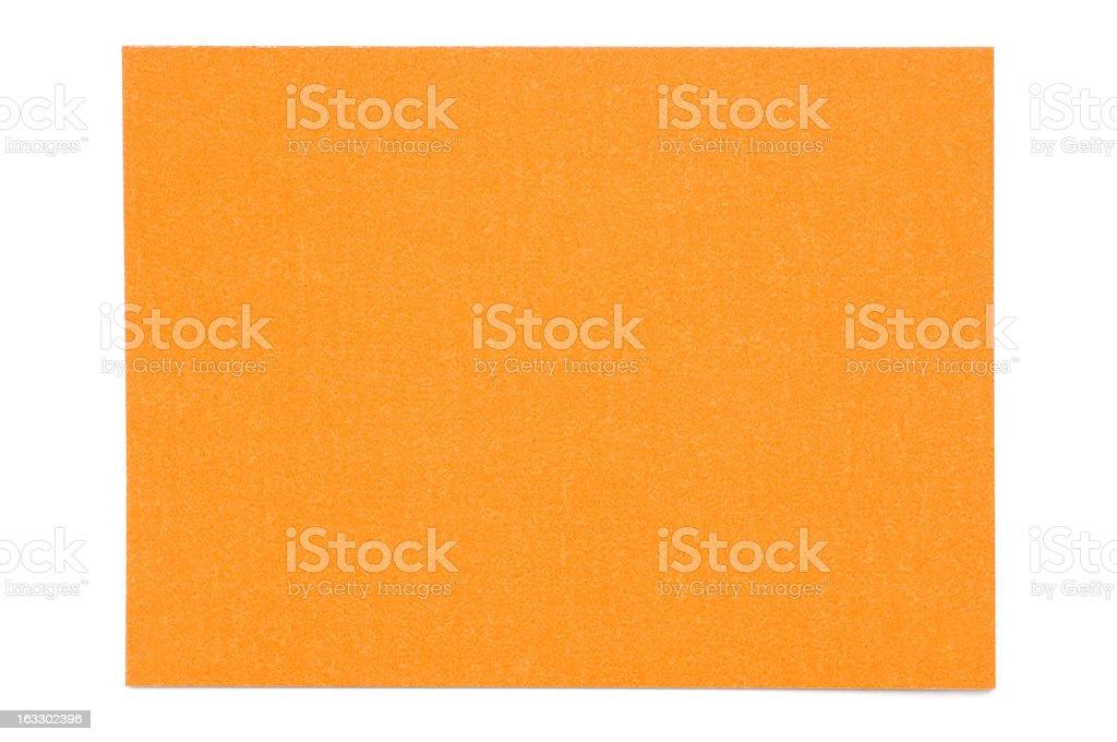 Orange post-it note isolated on white stock photo