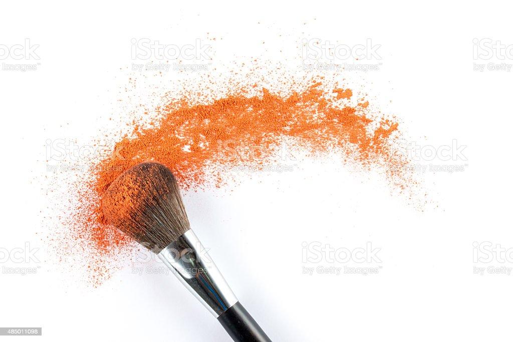 orange Powder Eyeshadow on a Brush, fashion beauty stock photo