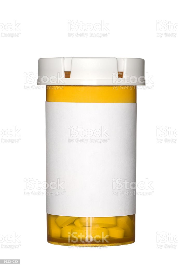 Orange prescription pill bottle on white background stock photo