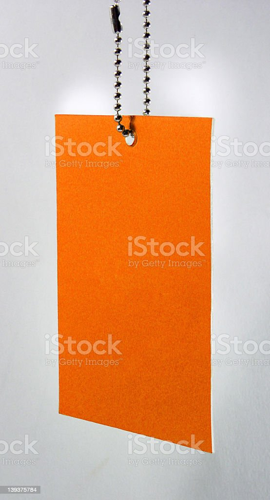 Orange Price tag (clear) stock photo