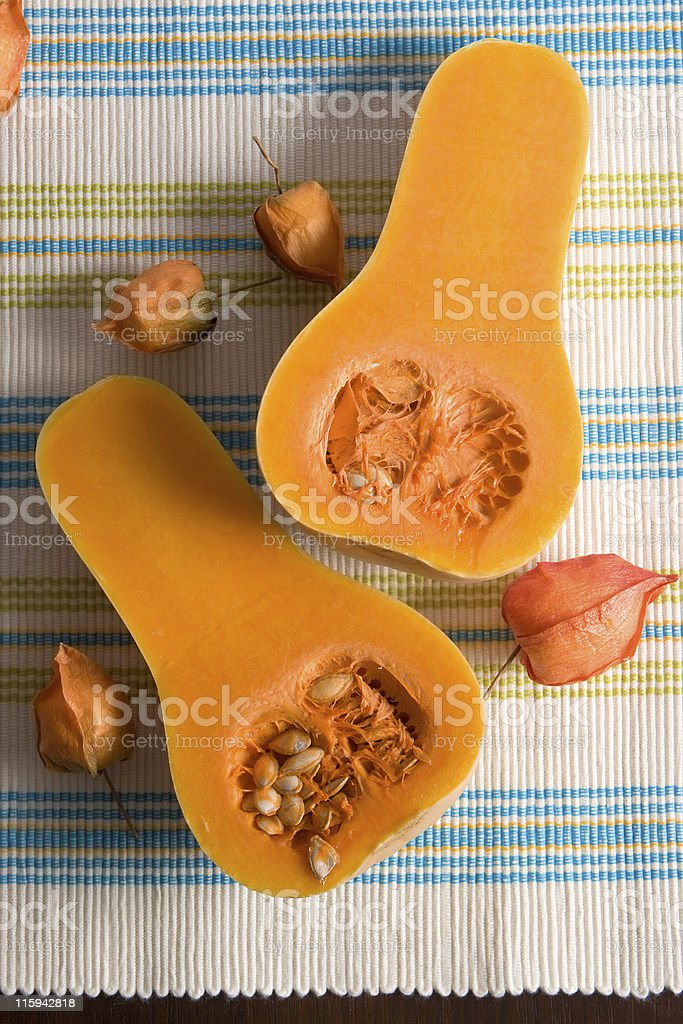 Orange pumpkin of striped cloth royalty-free stock photo