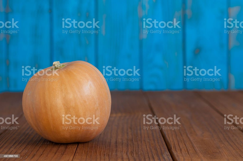 Orange pumpkin on blue wooden background, with empty space for stock photo