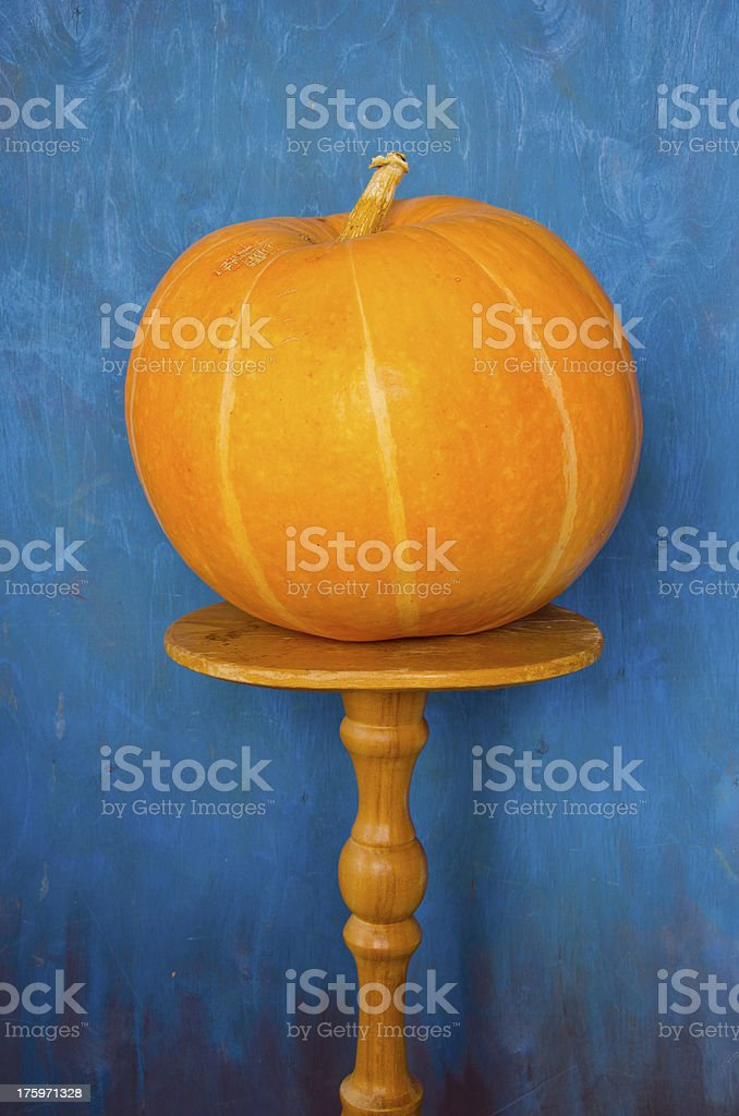 orange pumpkin on the table stock photo