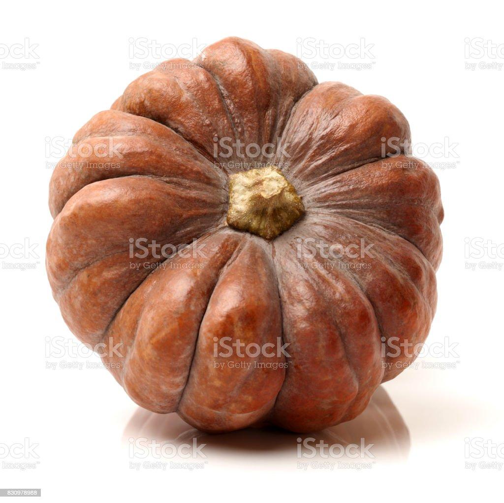 Orange pumpkin on the white background stock photo