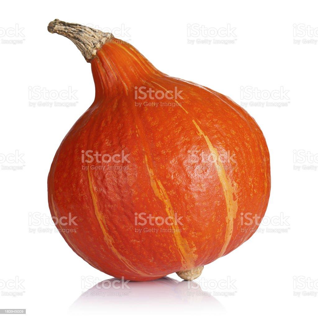 Orange pumpkin shaped like a pear stock photo