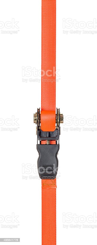 Orange ratchet strap on a white background stock photo