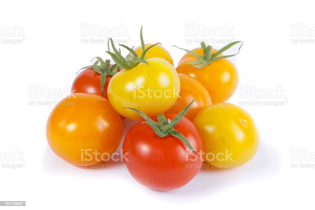 Orange, Red and Yellow Cherry Tomato Varieties royalty-free stock photo