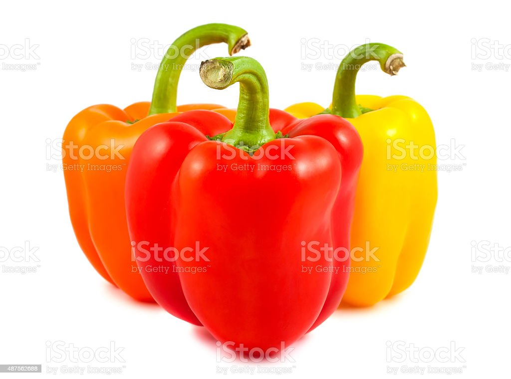 Orange, red and yellow peppers stock photo