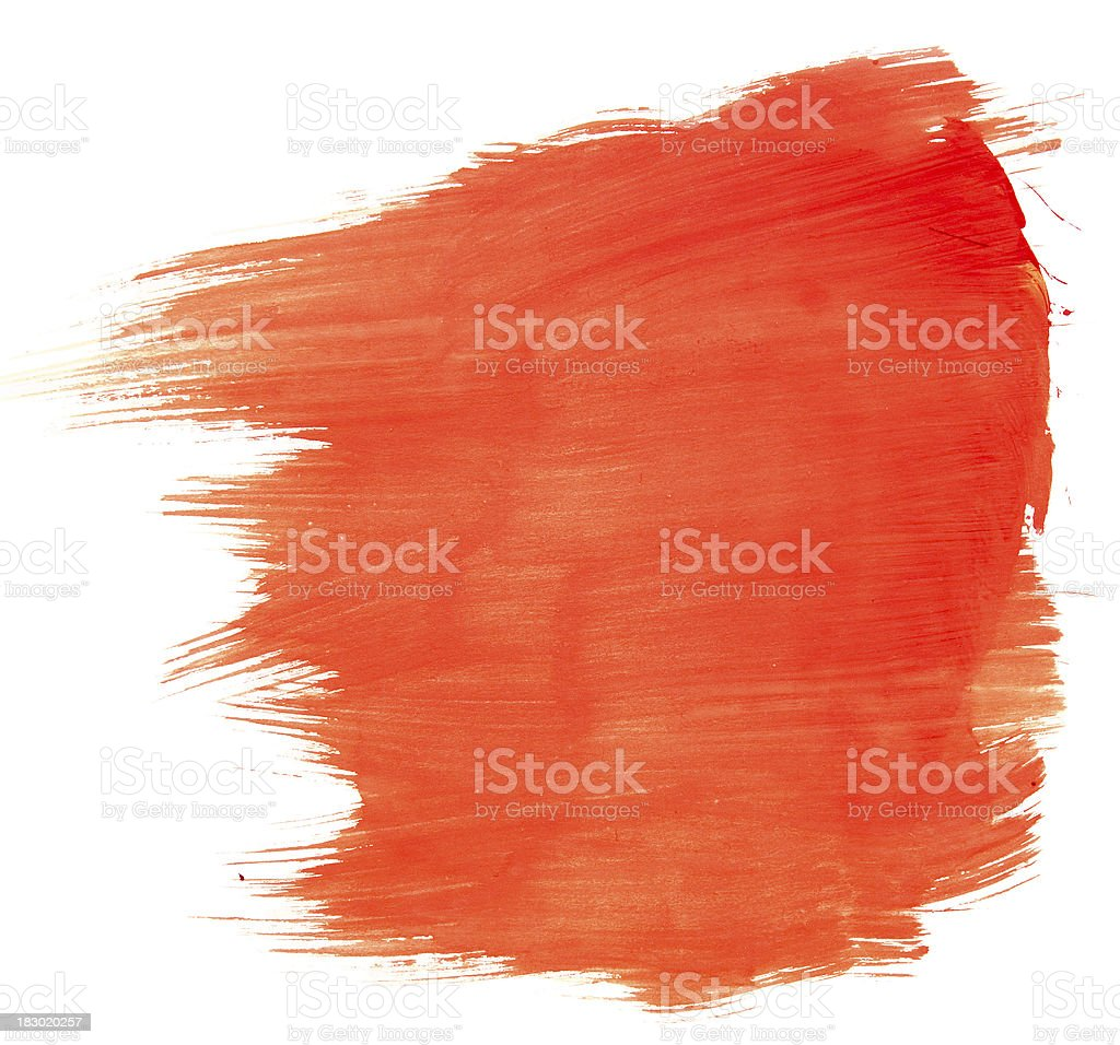 Orange red paint over white background royalty-free stock photo