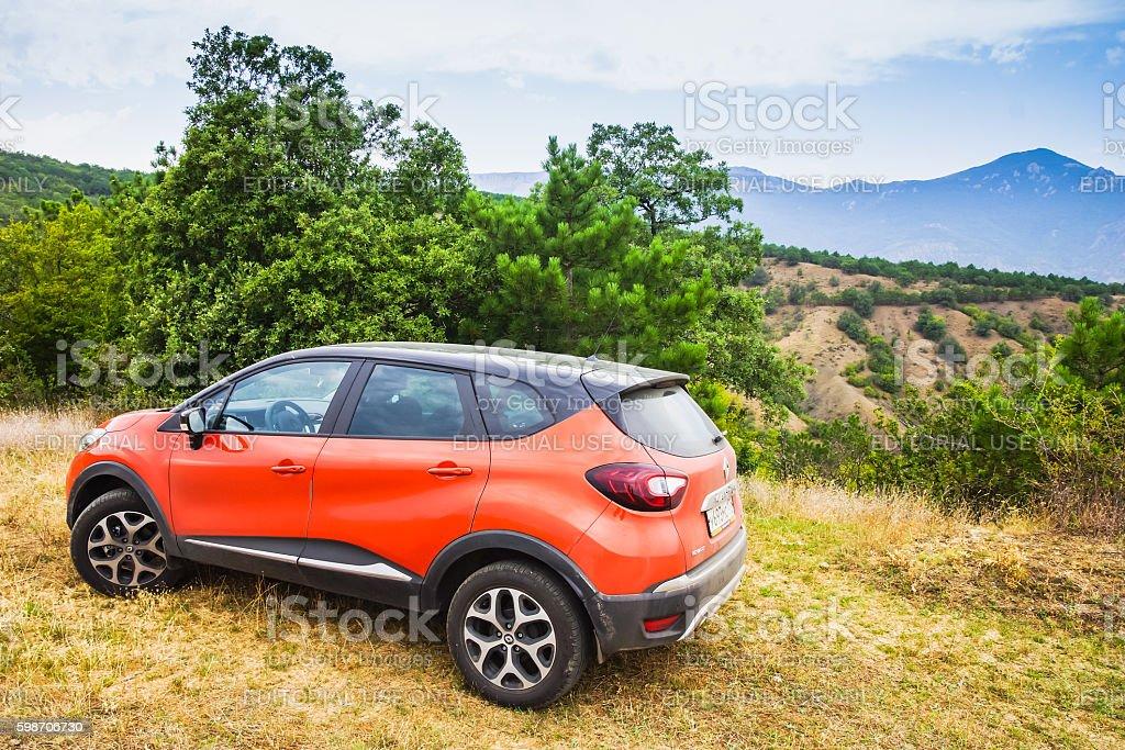 Orange Renault Kaptur car stock photo