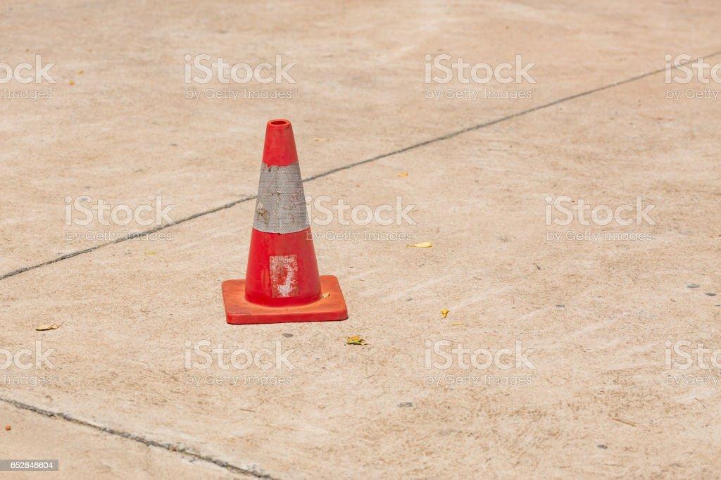 Orange road hazard cone stock photo