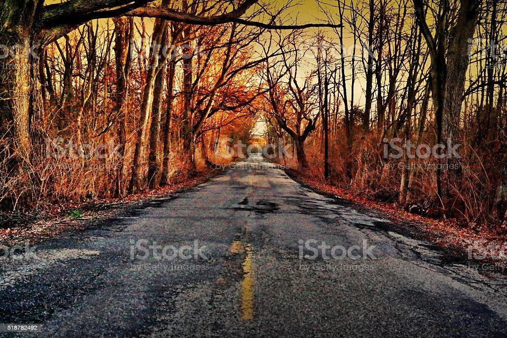 Orange Road Less Traveled stock photo