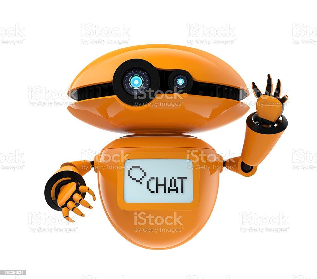 Orange robot isolated on white background stock photo