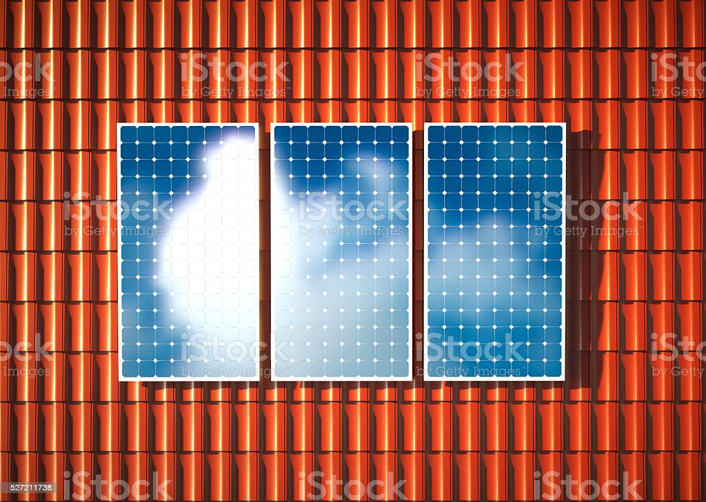 Orange roof with photovoltaic. 3D rendering. stock photo
