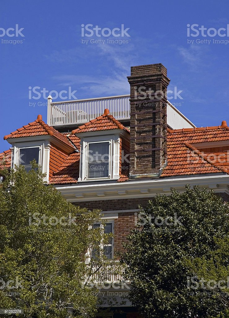 Orange Rooftop in Old Charleston royalty-free stock photo