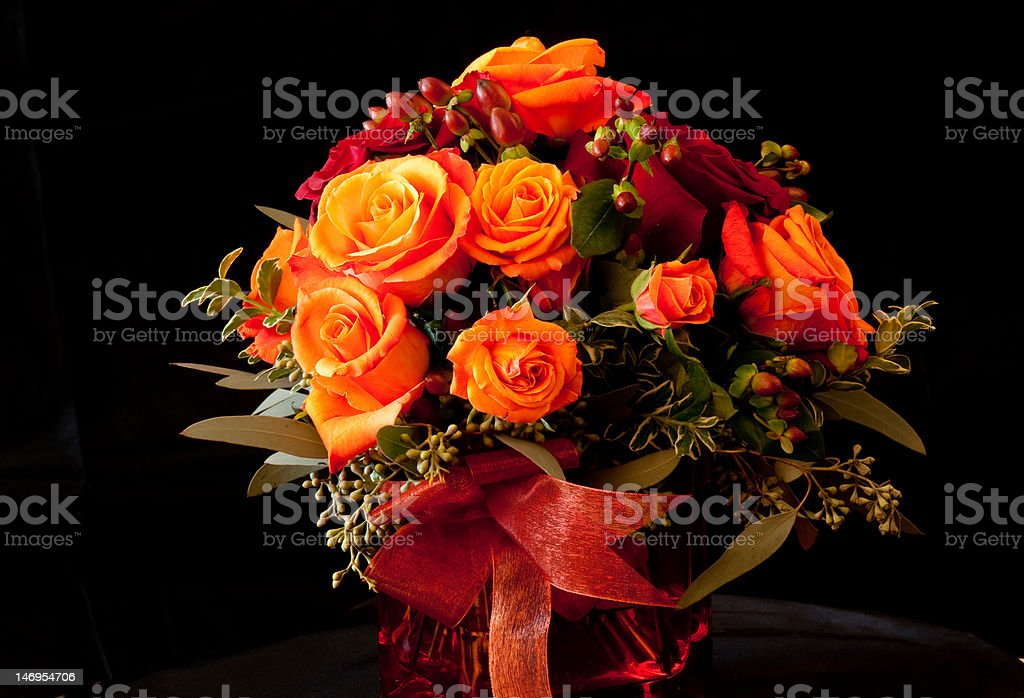 Orange rose flower arrangement royalty-free stock photo