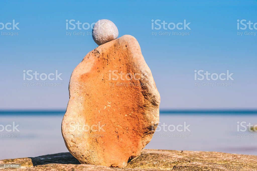 Orange sandstone at coast stock photo
