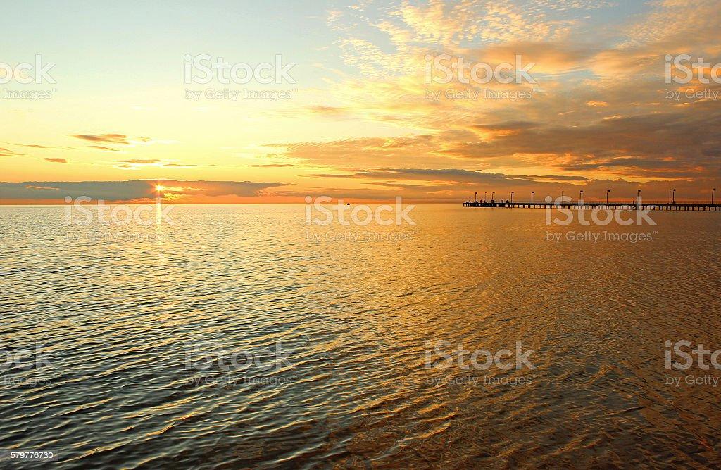 Orange sea sunset stock photo