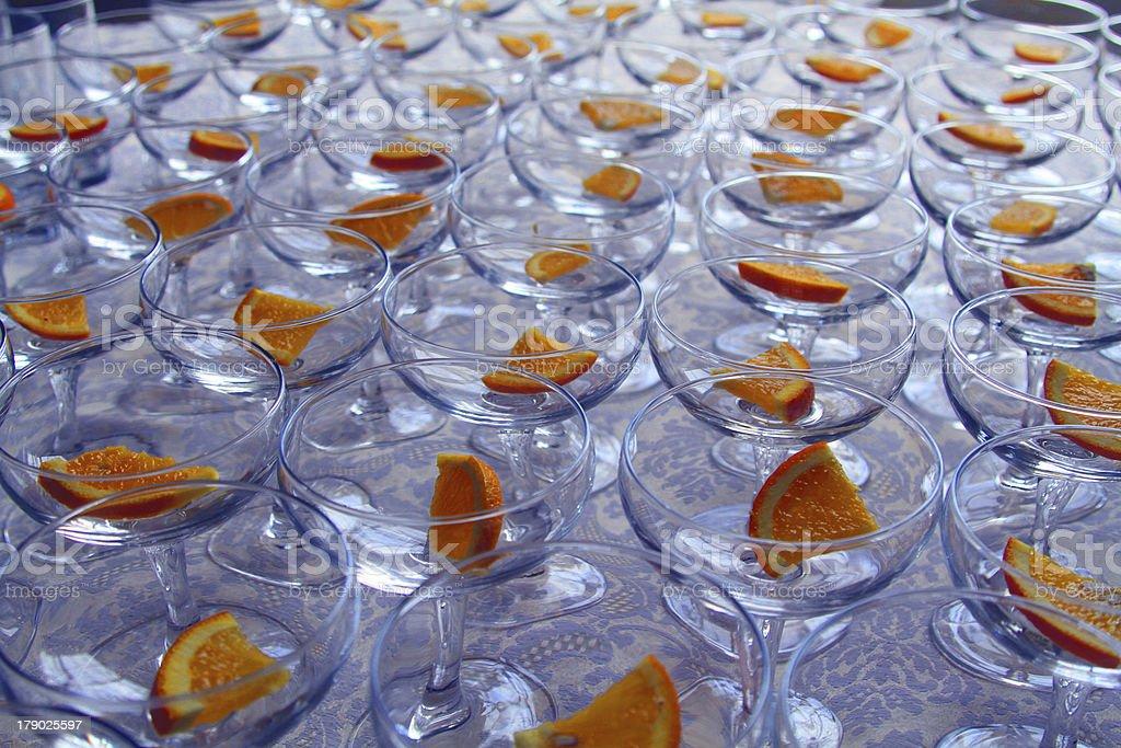 orange segments in cocktail glasses stock photo